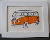 Orange VW campervan-Freehand machine embroidery and applique picture
