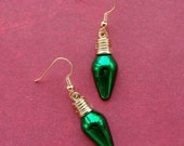 Miniature Antique Christmas Bulb Earrings - Classy Christmas Bulbs in Green