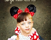 Minnie Mouse Ears Hair Clips...With Bows...Sequin Glamour Minnie Mouse....size LARGE...You Pick Her Bow Color...Small, Large Available