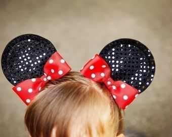 Minnie Mouse Ear Hair Clips...With Bows...Sequin Glamour Minnie Mouse...Size Small...You Pick Bow Color...Small, Large Available