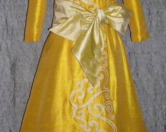 Custom Made In Your Choice of Colors Appliqued Silk Dupioni Dress