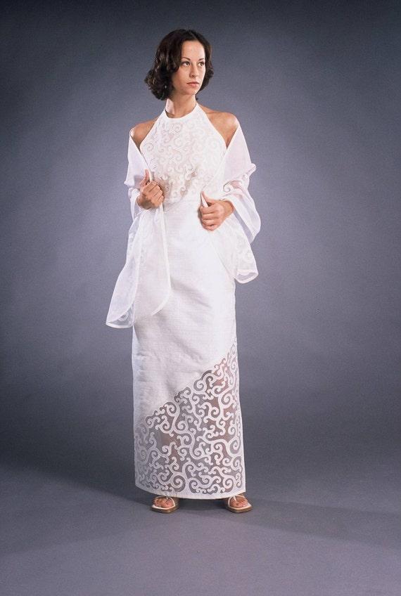 Appliqued Wedding Dress Of White Silk Dupioni White Silk