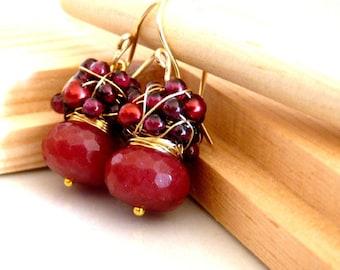 Garnet cluster earrings, sweet earrings with red jade, garnet and sea pearls, January birthstone, Ruby Red Jade, July birthstone