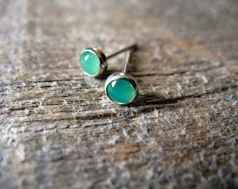 Green Chrysoprase Stud Earrings