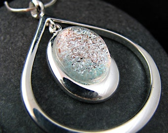 Dichroic Necklace - Fused Glass and Silver Necklace - Elegant Silver Frost Teardrop