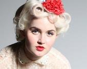 Floral headband - 'Gardener Olive' in red/white/blue