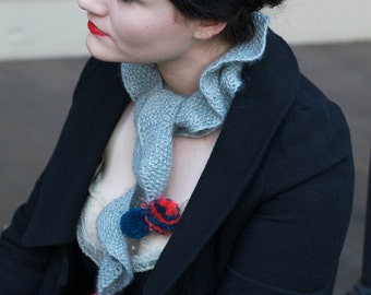 Columbine Pom-Pom Scarf - Grey with Teal and Coral