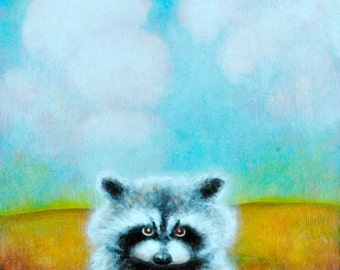 Raccoon -  Fine Art Print -   Raccoons - Animal Art -  Raccoon Print -  Nature Art -  cute children's art -  Print