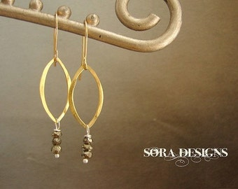 Petal drop earrings, Pyrite lotus petal drop earrings, metallic gold marquis hoop 14kt gold filled earrings