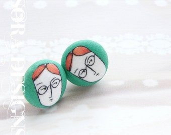 Orange green studs, button studs, art illustration stud earrings, Gemini boy dude illustration studs, Gemini twins earrings
