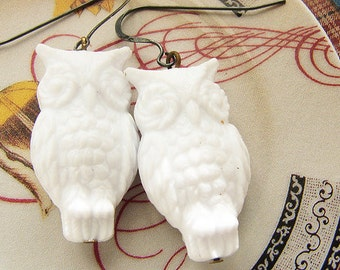 White Owl drop Earrings, snow white owl dangle earrings, oxidized sterling silver drop earrings