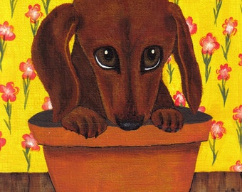 """Dachshund Dog """"Doxie Pup in the Flower Pot"""" Adorable Eyes Collectible ACEO ATC Art Deco Print Poster Pop Art Ellison"""