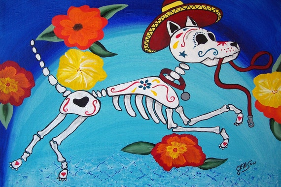 Mexican Folk Art Day of the Dead Dog Puppy DOD Collectible ACEO ATC Art Multiple sizes available Print Poster Art Ellison