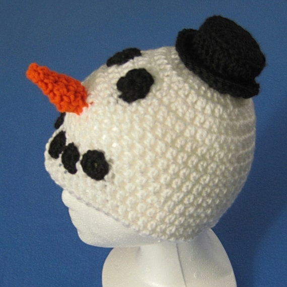 Snowman Hat for Baby, Toddler, or Child -- Four Sizes -- Crochet Pattern -- Instant Digital Download