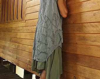 Artistic collection...Sunflower layers dress Gray/Green M,L,XL  (1160)