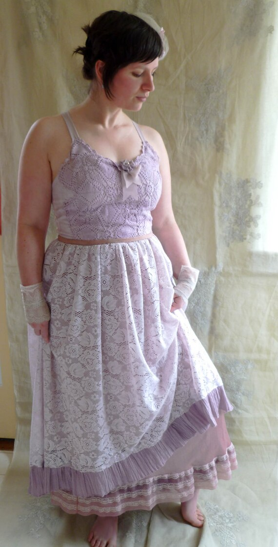 SALE Lupine Wedding Dress... size Large... Eco Friendly Recycled Bohemian Hippie Fairy Alternative Gown
