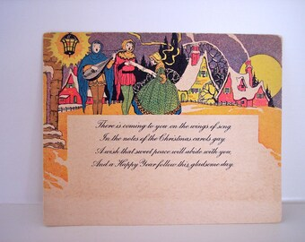 Vintage Christmas Postcard Happy New Year Midcentury Paper Ephemera Old Correspondence Letter Scrapbooking Mixed Media Supplies Holiday