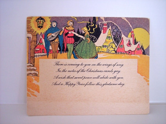 Vintage Christmas Postcard Happy New Year Midcentury