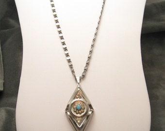 Large Rhinestone Necklace Unusual Tiered Design N3159