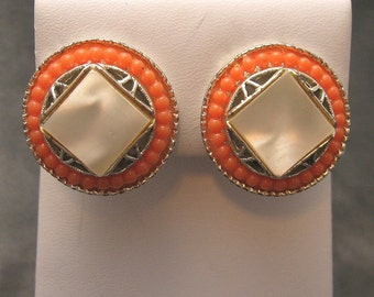 Sixties Victorian Revival Earrings Coral  Vintage Jewelry E3814