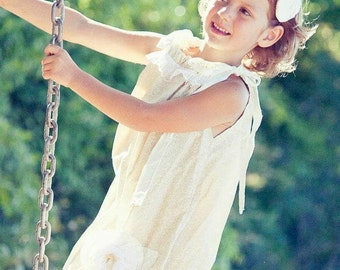 Girl's dress, Ivory dress, flower girl, beach dress, Bohemian dress, infant dress, Spring, sizes newborn through 6X