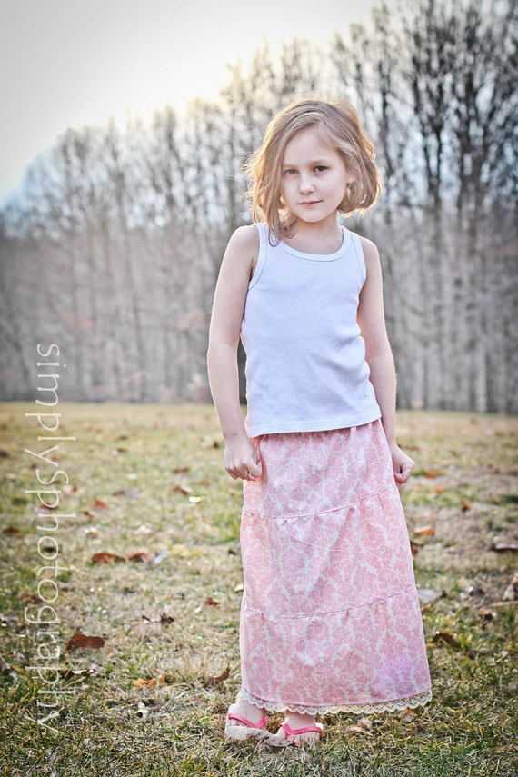 Rosewater Pink Damask Girls BOHO Tiered Maxi Skirt  Available in sizes 18m through 8