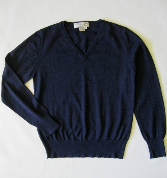 Vee neck wool sweater in navy blue, by Tricots St. Raphael, men's small / women's medium