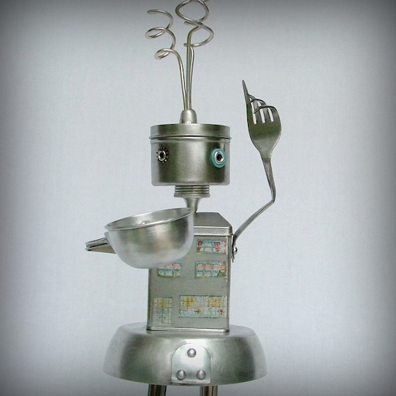 Meet You at the Coffee House -  robot sculpture - recycled art