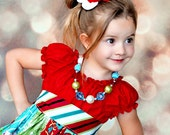 Made to match Corinna Couture Retro Holiday Dress RED Bodice Chunky Necklace for Little Girls