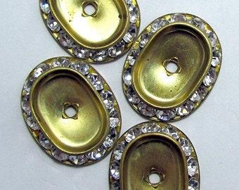 4 Vintage Rhinestone Oval Bezels