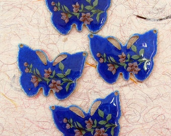 Vintage Guilloche Enamel Butterfly Charms