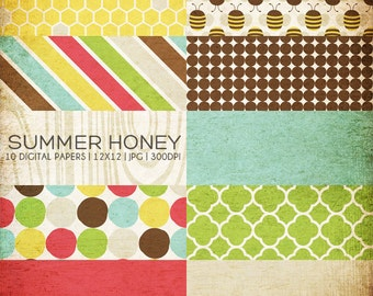 12x12 Digital Paper Collection - Summer Honey - Great for Photographers or Scrapbooking - 10 .JPG files