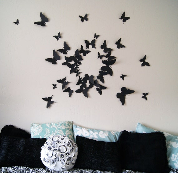Free US Shipping- 40 3D Butterfly Wall Art Circle Burst
