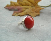 Red coral ring - Round ring - Bezel ring - Red ring - Cabochon ring - Sterling silver ring - Gemstone ring - Gift for her