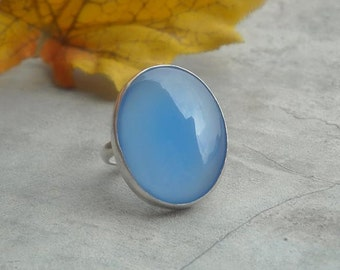 Oval ring - Blue stone ring - Bezel ring - Blue chalcedony ring - Oval gemstone ring - Sterling silver ring - Gift for her