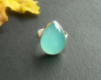 Blue chalcedony ring - Aqua ring - Drop ring - Blue ring - Gemstone ring - Handmade - Sterling silver ring - Gift for her