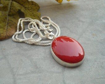 Red Coral Pendant Chain - Oval pendant - Red stone pendant necklace - Bezel pendant - Gift for her