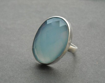 Blue chalcedony ring - Oval ring - Gemstone ring - Faceted ring - Bezel ring - Handmade sterling silver - Gift for her