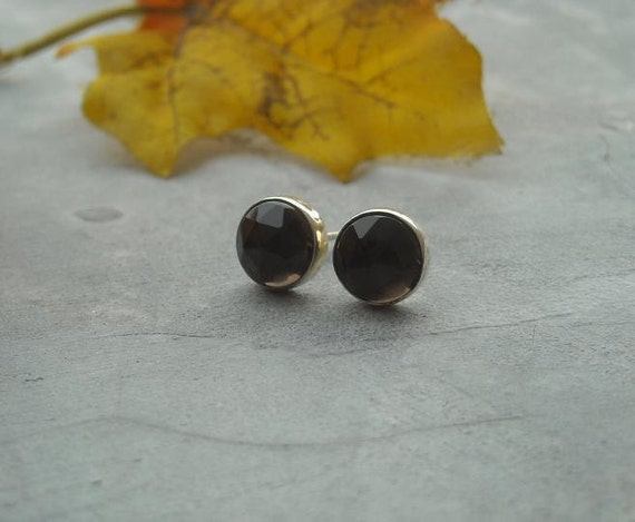 Smoky quartz earrings - Stud earrings - Brown earrings - Post - Ear studs - Earrings for women - Gift for her