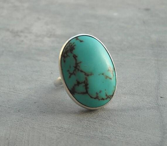 Turquoise Ring - Artisan ring - Gemstone ring - Bezel ring - Artisan ring - Bold ring  - Gift for her