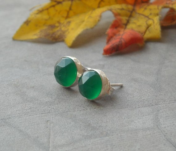 Green earrings - Small studs - Round studs - Chalcedony earrings - Stud earrings - Ear studs - Gift for her