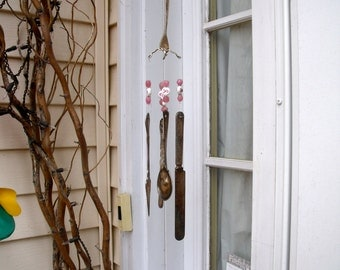 BREAST CANCER AWARENESS  WindChime from  REcYcLeD REpurPoseD anTiQue SilverWare -PinK Ribbon glass beads