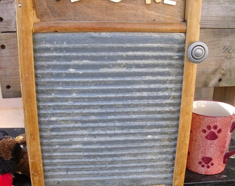 "WASHBOARD CABINET-REcycLed old washboard to a WaLL CaBiNeT-wiTh ""rE DoNE"" vintage sign letters-lingerie size-GreaT Medicine / Spice CabineT"