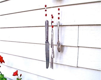 WIND CHIMES WISCONSIN BaDgeRs vinTage siLverwaRe  WinD-chiMes -anTiQue measuring cuP & ReD / wHiTe gLass beads-REcycLed,UPcycLed,REpurposed