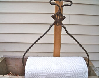 "PAPER TOWEL HOLDER-""Torrance Ice Co. Boise,Idaho"" IcE TonGs-REcycled / UPcycled / REpurposed-plus roll of Bounty Basics paper towels"