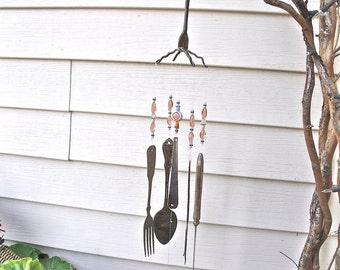 vintage SILVERWARE  REcycled / REpurposed / UPcycLed inTo  WINDCHIMES  with PearL, silver and Peach gLass beads-So LOVELY