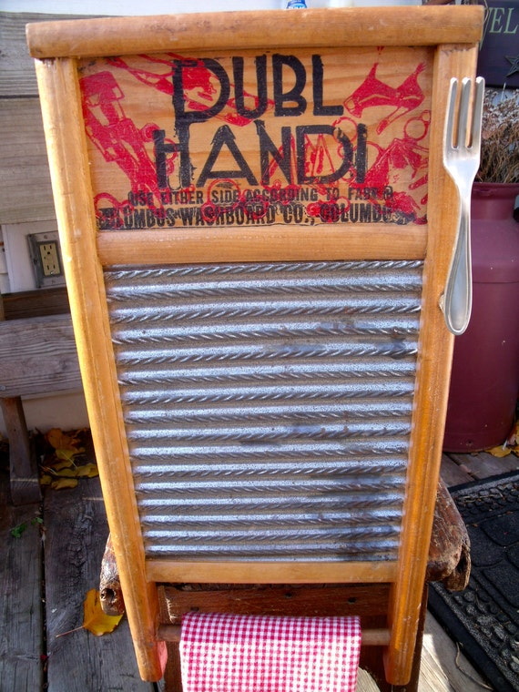 vinTage anTiQue UPcycLeD DubL HanDi WASHBOARD inTo a WALL CABINET-- LinGeRiE siZe-REcycLeD / REpurposeD--with ForK HanDLe