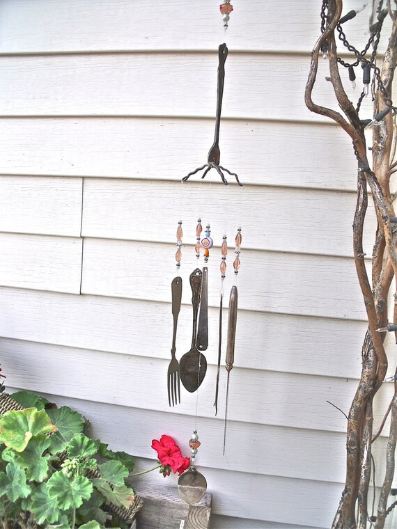 SILVERWARE WIND CHIMES windchimes-REcycled / REpurposed / UPcycLed inTo   wind chimes with PearL, silver and Peach gLass beads-So Lovely