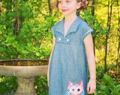 Quirky Owl Tab Chambray Dress 12 months - 8