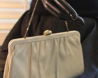 Pretty White Leather Evening Clutch Bag